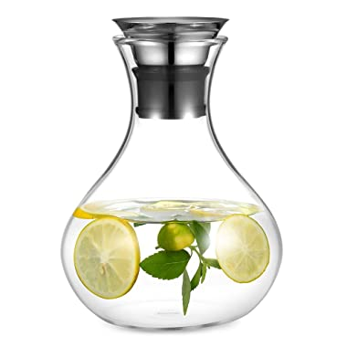 Ecooe Oval Water Pitcher 1500ml\50 oz Glass Drink Water Carafe with Stainless Steel Lid