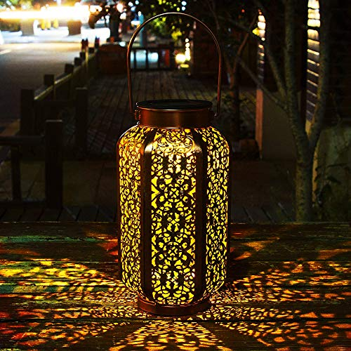 Solar Lantern Outdoor Solar Hanging Lanterns Solar Garden Lights Patio Decor Metal Yard Art Garden Accessories Outdoor Decorations for Porch (Gold 2) ()