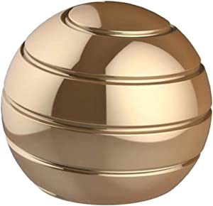 CaLeQi Desktop Ball Transfer Gyro Aluminum Alloy Kinetic Desk Toy Stress Relief Office Executive Gadgets Metal Ball Full Disassembly Rotary Decompression Toy-Small (Gold)