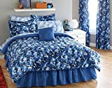 Bright Blue Camouflage Army Boys King Comforter Set (8 Piece Bed In A Bag) + BONUS HOMEMADE WAX MELT!