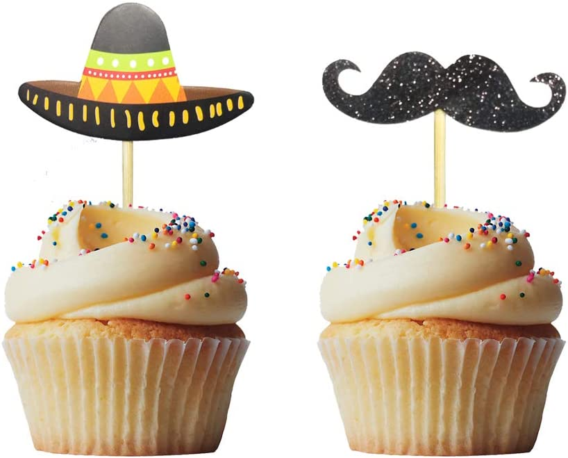 Morndew 24 PCS Sombrero Mustache Cupcake Toppers Insert Picks Decorations for Mexican Fiesta Themed Party Birthday Party Baby Shower Wedding Party