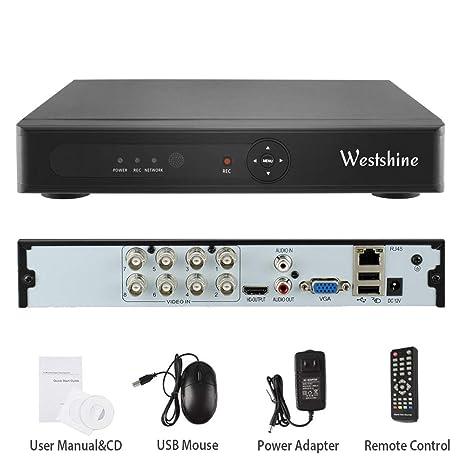 Westshine 1080N 8CH DVR/NVR Grabador de Video Digital H.264 CCTV Vigilancia de Seguridad, Soporta Onvif P2P Detección de Movimiento Alarma Email, Sin ...