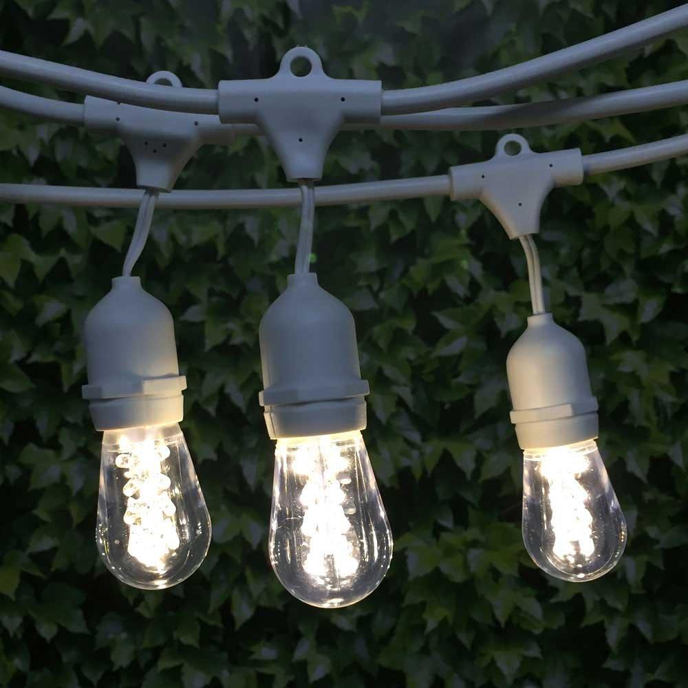 LED Outdoor Patio Light 100 ft White Suspended LED S14 Premium WW Bulb