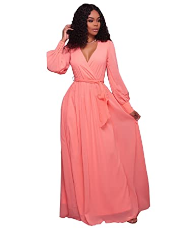 New Peach Chiffon Lang Sleeve V-Neck Maxi Kleid Party Sommer tragen ...
