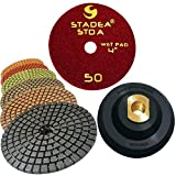 Stadea PPW199A Diamond Polishing Pads 4-Inch Kit For Concrete Marble Granite Stone Wet Polishing With Rubber Backing Pad