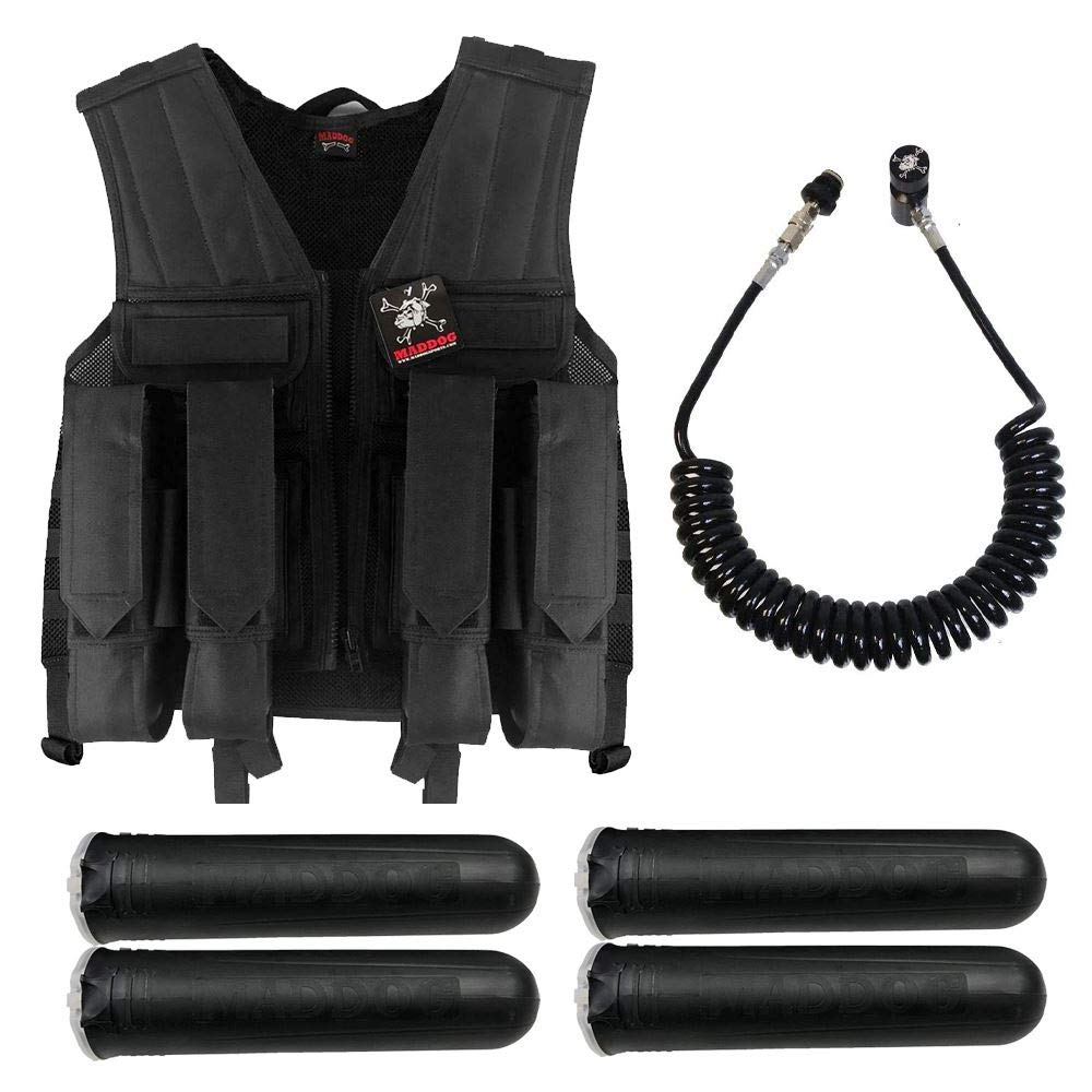 MAddog Tactical Battle Vest w/Pods & Standard Remote Coil Paintball Package - Black by MAddog
