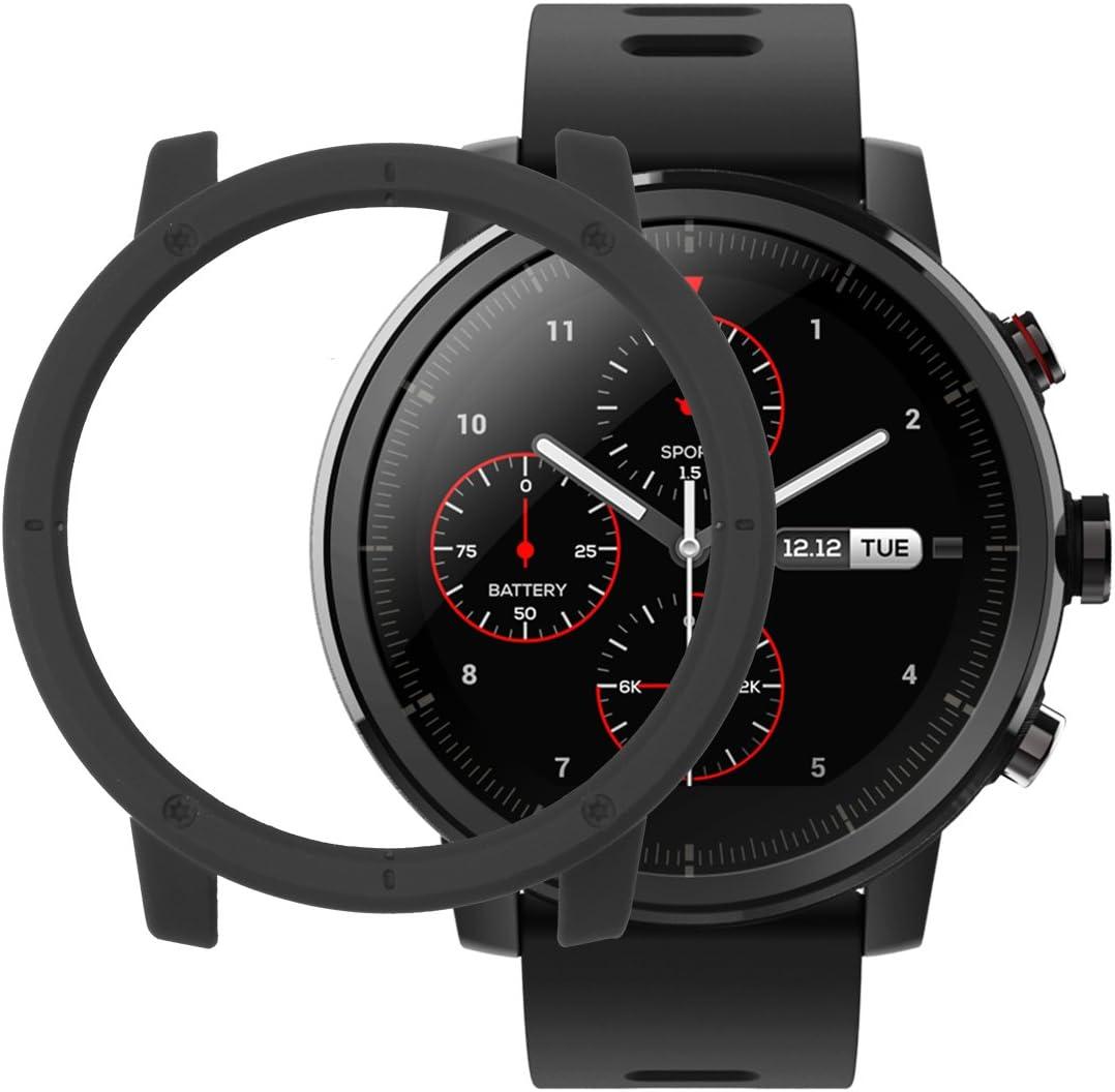 Sikai Amazfit Sports Smartwatch Stratos 2 Marco Caso Cubierta Proteger Shell Moda Protector Case Funda para Xiaomi Huami Reloj Carcasa Lightweight Hülle Bumper Cover (Negro)