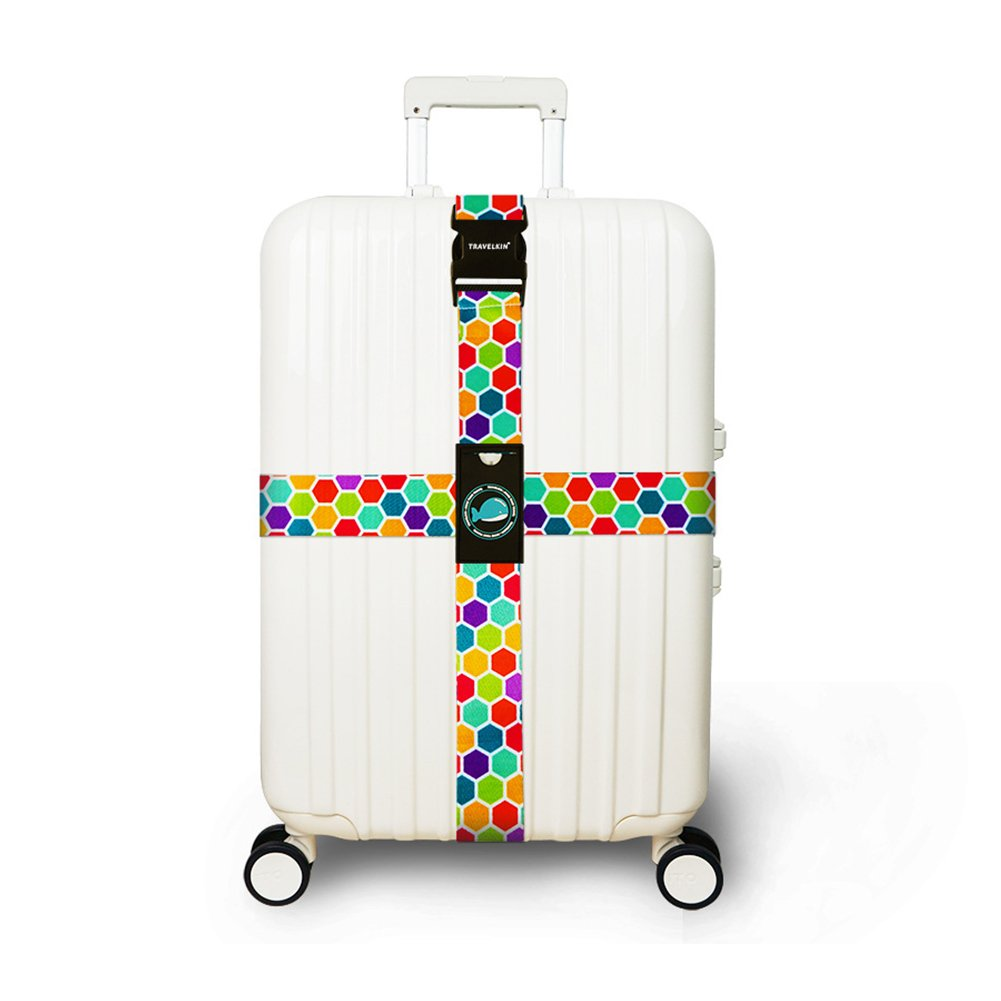 XuBa Colorful Luggage Straps Suitcases Cross Travel Belt Tags Wear Resistance Adjustable Size Honeycomb