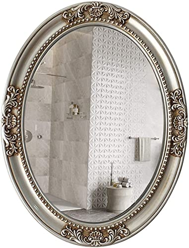 Mirror Bathroom Elliptical European Frame Wall Bath Antique Silver 32 inche