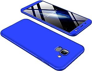 BCIT Funda Samsung Galaxy J6 2018 360 Grados Integral para Ambas Caras + Cristal Templado, Luxury 3 in 1 PC Hard Skin Carcasa Case Cover