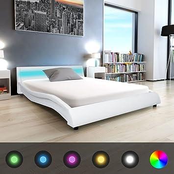 WEILANDEAL Estructura de Cama con LED Medida 140x200 cm Cuero Artificial Blanco Camas Tamano de colchon Compatible: 140 x 200 cm (colchon no Incluido): ...