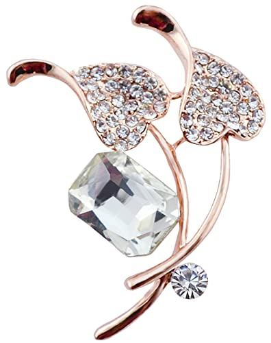 FENGJI Crystal Double Dolphin Gold and Silver Plated Coat Jacker Wedding Brooch Pin 7Mqmk