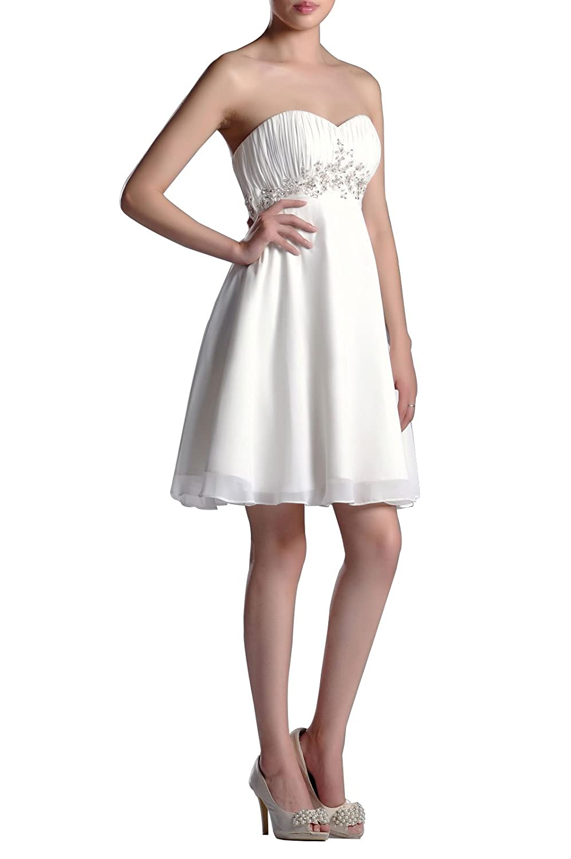 e24fc7d5b5ab Adorona Chiffon Natrual Strapless Sweetheart Sleeveless Graduation Dresses:  Amazon.co.uk: Clothing