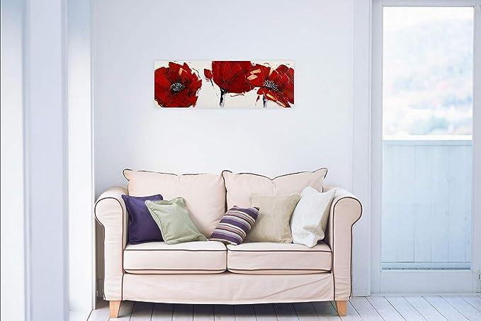 Kunstloft® Cuadro en acrílico Amapolas Rojo Fuego 90x30cm ...