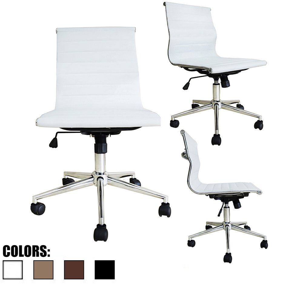 2xhome Modern Mid Back Office Chair Armless White No Arms Ribbed PU Leather Swivel Tilt Adjustable Chair Designer Boss Executive Manager Office Conference Room Work Task Without Arms Armrests