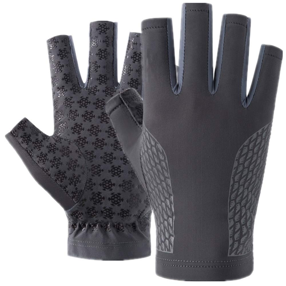 Loe High Elastic Breathable Quick-Drying Sports Gloves, Male Summer Non-Slip Half Finger Driving Riding Fishing Outdoor Sports Gloves, Wear-Resistant Practical Sunscreen Gloves (Color : Gray)