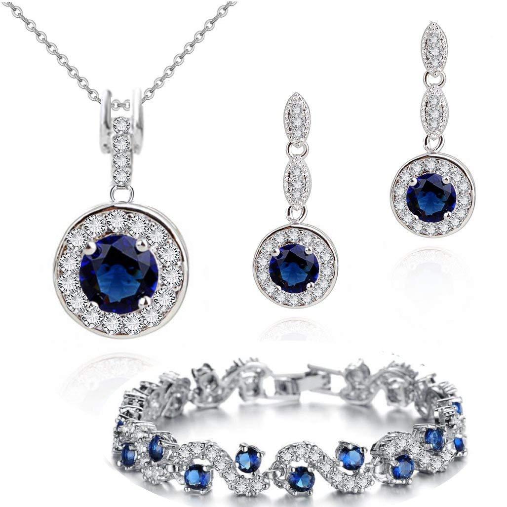Ensemble collier boucles doreille et bracelet 18 carats plaqu/é or blanc avec cristaux autrichiens bleu imitation saphir en zircone