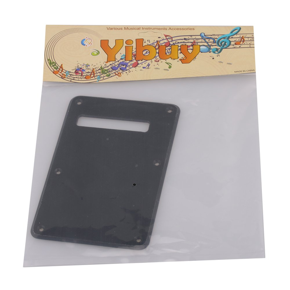 Yibuy Black 1-ply ABS Guitar Tremolo Rear Spring Cover Back Plate For Electric Guitar etfshop Yibuy29