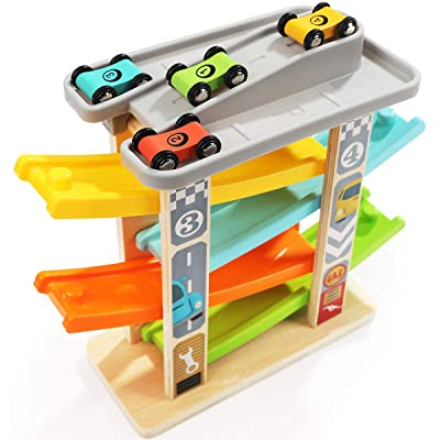TOP BRIGHT Car Ramp Toy for 1 2 Year Olds Toddler Boy Gifts - Baby Car Toy Race Track Vehicle Playsets with 4 Wooden Cars & Garage: Toys & Games
