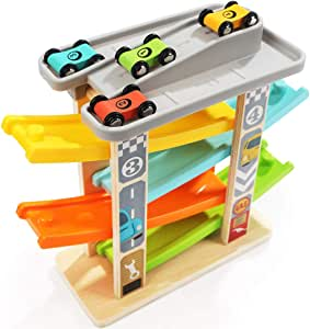 TOP BRIGHT Car Ramp Toy for 1 2 Year Olds Toddler Boy Gifts - Baby Car Toy Race Track Vehicle Playsets with 4 Wooden Cars & Garage