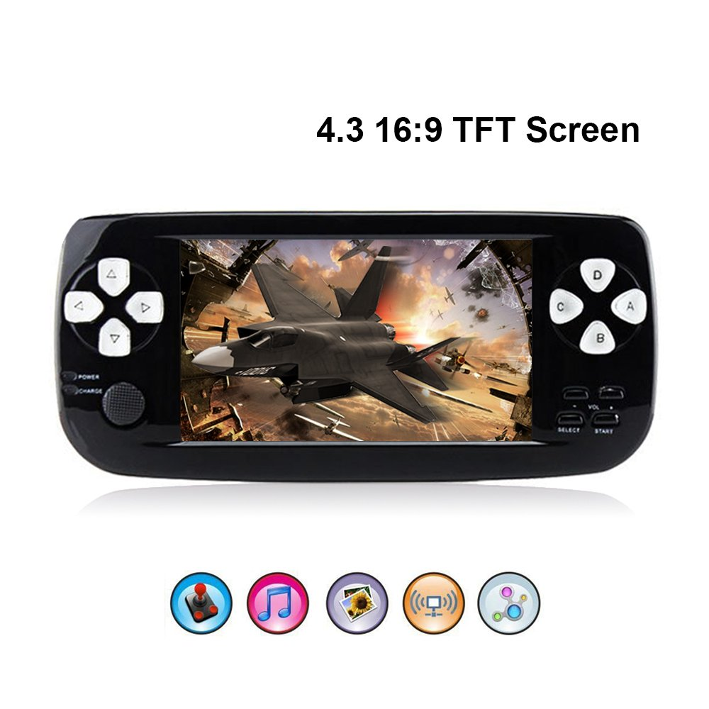 Rongyuxuan Handheld Game Console, Portable Video Game 4.3'' TFT Screen 4GB PAP Classic Handheld Video Game Console with 653 Games 64 Bit Game Console, Birthday Gift for Children