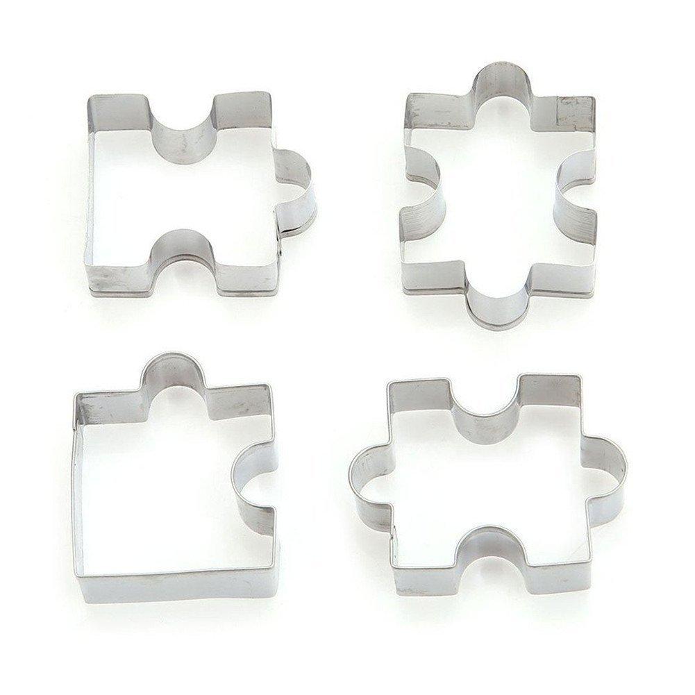 Hengsong Steel Fondant Biscuits G/âteau Mould Cookie Forme de Puzzle 4 pi/èces