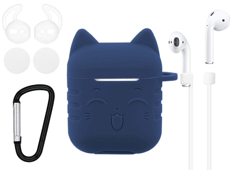 Airpodsケースキャット 5in1 Airpodsアクセサリーキット Airpodsスキン かわいい 愛らしい猫 シリコンケースカバー キーチェーン付き イヤーフックストラップ フォームイヤホン Apple Airpods充電ケース用 airpodscatdblue  ダークブルー B07NXPCQ2M