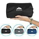 BlueHills Ultra Compact Travel Blanket Pillow in Portable Bag Case with Hand Luggage Belt & Backpack Clip Premium Cozy Soft Compact Pack Large Blanket for Airplane Flight Layover Black C003