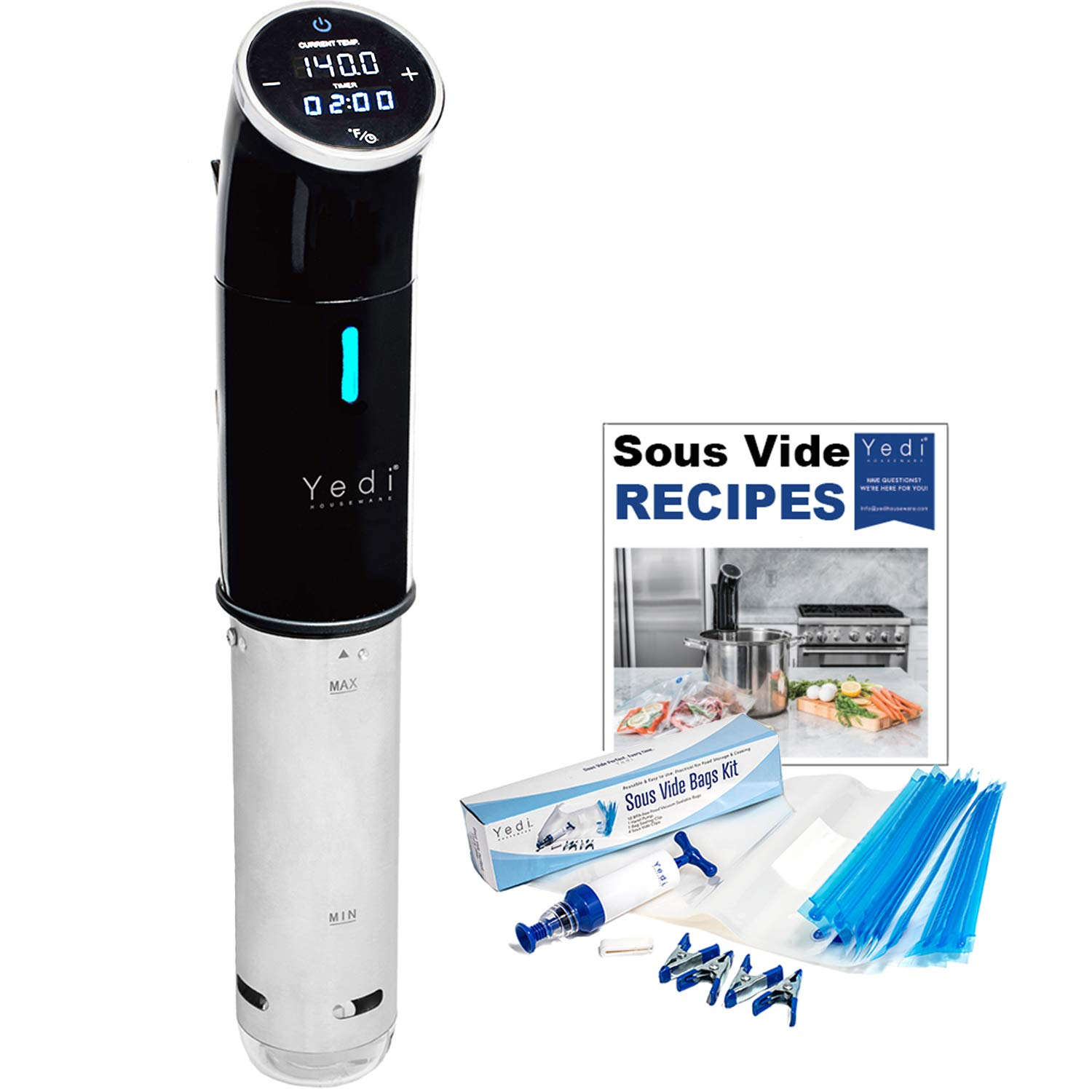 Sous Vide, with Deluxe Accessory Kit & Endless Recipes by Yedi Houseware