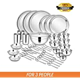 Shri & Sam Stainless Steel Dinner Set, 45-Pieces, Service for 3, Silver