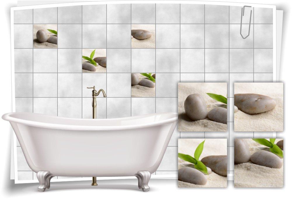 Medianlux Fliesenaufkleber Fliesenbild Zen Steine Sand Bambus Wellness Spa Aufkleber Sticker Deko Bad WC, 10x10cm