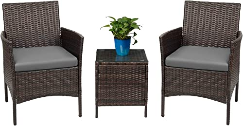 Devoko Patio Porch Furniture Sets 3 Pieces PE Rattan Wicker Chairs with Table Outdoor Garden Furniture Sets Brown Grey
