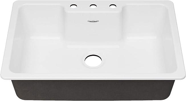 American Standard 77sb33223 308 Quince 33 X 22 Single Bowl Cast Iron Kitchen Sink 3 Holes Brilliant White Amazon Com