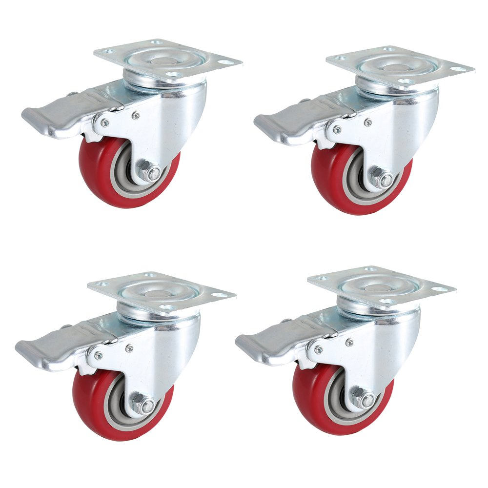 DICASAL 3 inch Swivel Casters with Brakes, Heavy Duty Plate Casters No-Marking Quiet Red PU Castor Load Upto 1200 lbs Pack of 4.