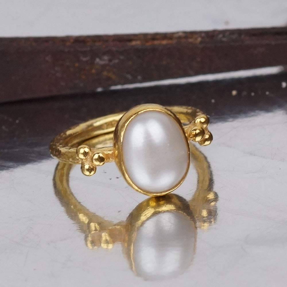 Pearl Ring Sterling Silver 24k Yellow Gold Vermeil, Turkish Jewelry Ring, Statement Ring, Handcrafted Jewelry, Artisan Jewelry, Women Ring, Roman Art