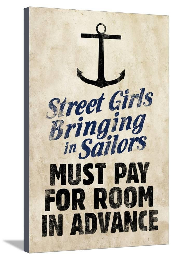 ArtEdge Street Girls Bringing in Sailors Stretched Canvas Print, 36x24 in