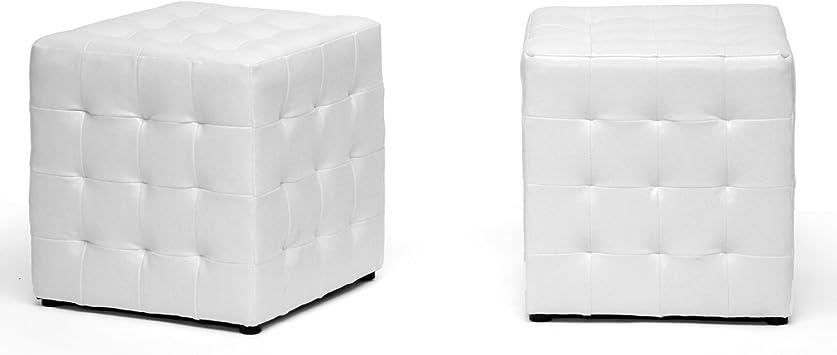 Baxton Studio Siskal Modern Cube Ottoman White Set Of 2 Furniture Decor