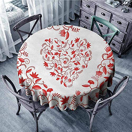 ScottDecor Overlay Round Tablecloth Valentines Day,Paisley Floral Details with Leaves and Roses in a Shape of Heart Frame Love Print,Red Jacquard Tablecloth Diameter 70