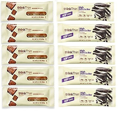 thinkThin Cookies & Cream + Brownie Crunch (Pack of 10) by thinkThin