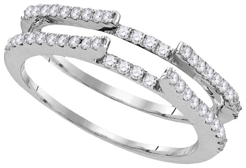 Size - 5 - Solid 14k White Gold Round White Diamond Prong Set Curved Ring Jacket Wedding Band OR Fashion Ring (1/2 cttw) by Sonia Jewels