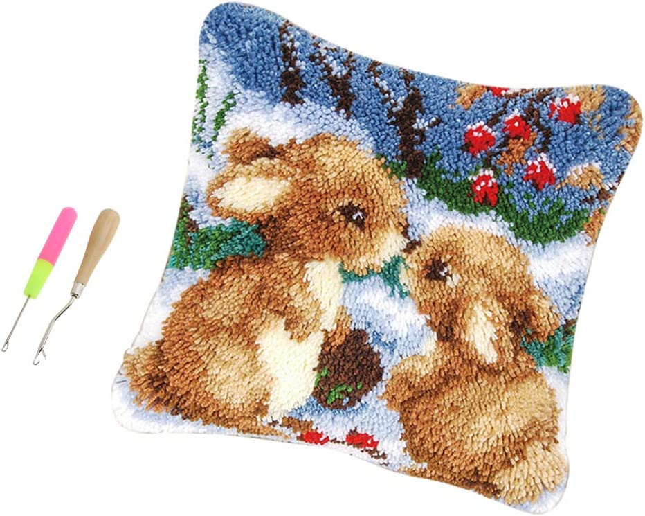 dailymall Latch Hook Kit Beginner Friendly Rabbits Design Latch Hook Kits Set for Kids and Adults with All The DIY Tools and Supplies and Activity
