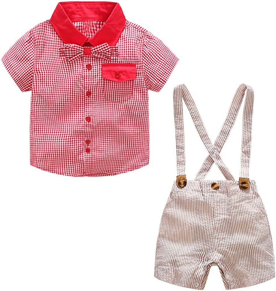 LENGIMA Camisa de algodón de Bowknot de Manga Corta roja para niños, Caballeros y Pantalones Cortos de Liga (Color : Pink, Size : 100): Amazon.es: Ropa y accesorios