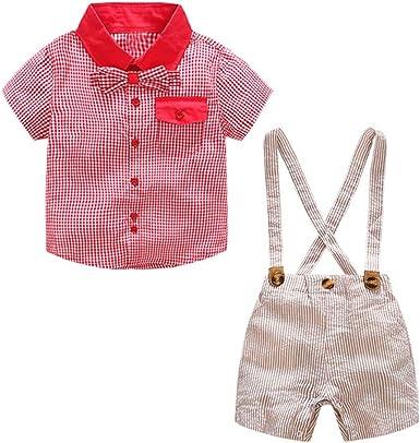 FCQNY Camisa de algodón de Bowknot de Manga Corta roja para niños, Caballeros y Pantalones Cortos de Liga: Amazon.es: Ropa y accesorios