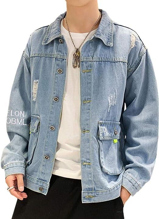 デニム ジャケット メンズ 春秋 ダメージ加工 折り襟 ジージャン 大きいサイズ ストレッチ ゆったり 防風 防寒 Gジャン ファッション カッコイイ 合わせやすい お出かけ 通勤 通学 刺繍 ネイビー ブルー M-3XL