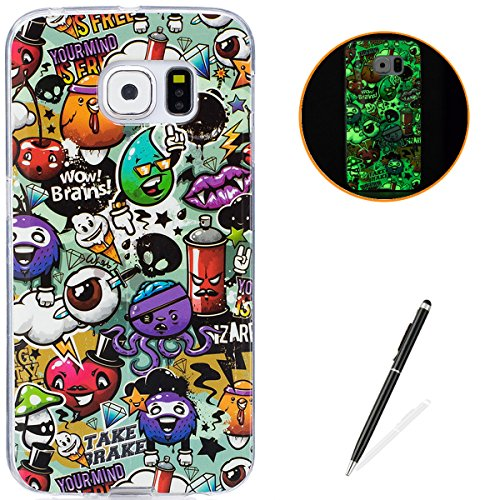 Samsung Galaxy S6 Edge Soft Silicone Gel Case Luminous Effect KaseHom [with Free Black Touch Stylus] Green Glow in the Dark Colourful Cartoon Rubbish Pattern Jelly Clear TPU Skin Cover Bumper ()