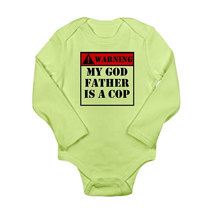 df28c5914 Amazon.com: CafePress - Warning My Godfather Is A Cop Body Suit - Cute Long  Sleeve Infant Bodysuit Baby Romper: Clothing