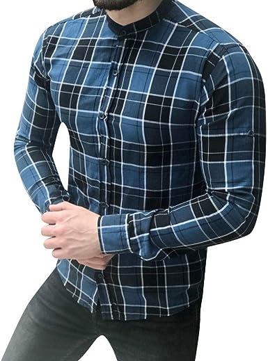 Camisa A Cuadros De Fit Modernas Casual Slim Hombre Los Largo ...