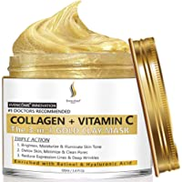 Collagen + Vitamin C Clay Face Mask   Reduces Wrinkles, Acne, Blemishes & Blackheads   Deep Cleansing Face Mask…