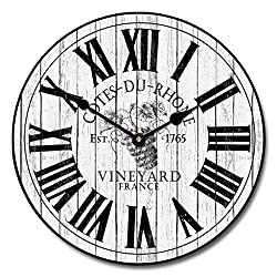 Wine Barrel Lid Wall Clock 2, Available in 8 sizes, Most Sizes Ship 2 - 3 days, Whisper Quiet.