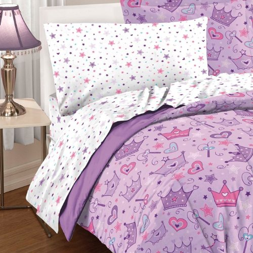 047225015150 - Dream Factory Purple Princess Hearts And Crowns Girls Comforter Set, Multi, Full carousel main 2